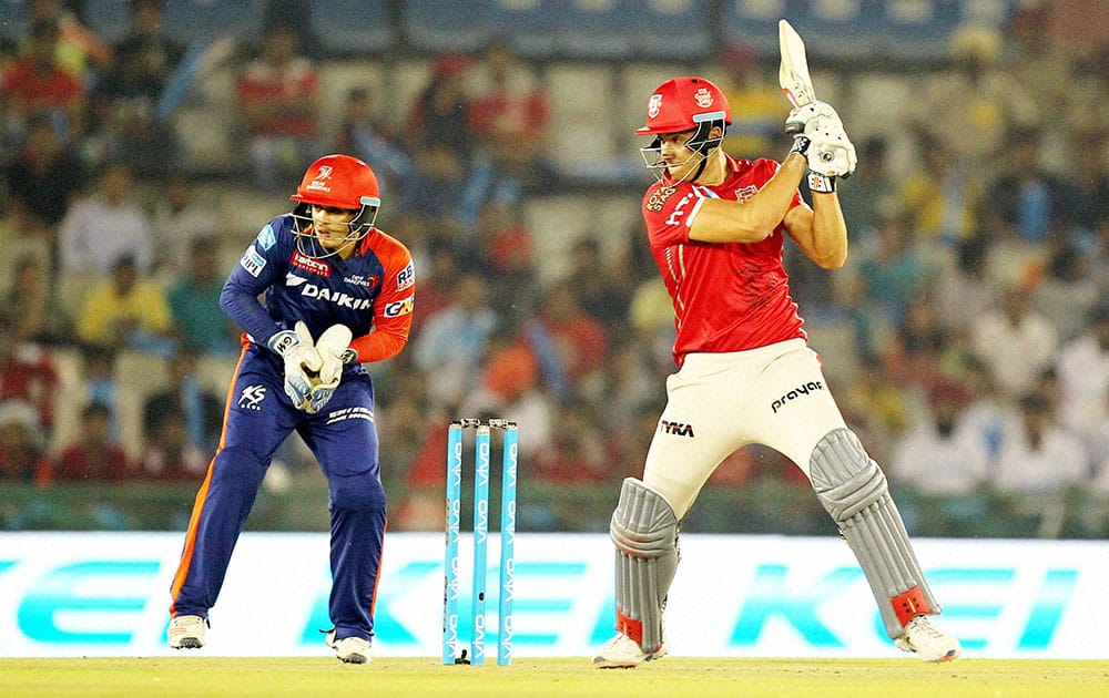 Kings XI Punjab Marcus Stoinis plays a shot during IPL match between the Kings XI Punjab and the Delhi Daredevils in Mohali.