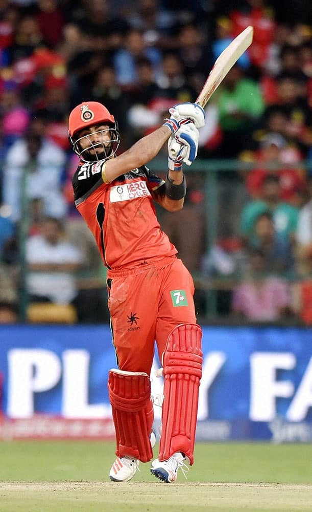 Royal Challengers Bangalores Virat Kohli plays a shot during the IPL T20 match against Rising Pune Supergiants in Bengaluru.