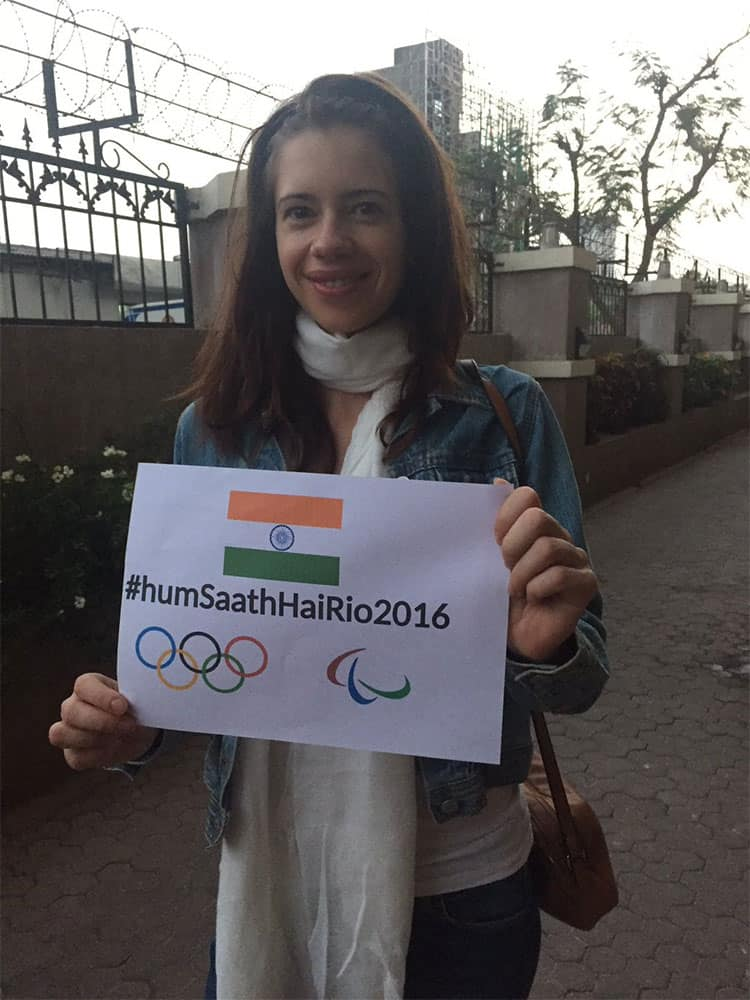 Kalki Koechlin :- #humSaathHaiRio2016 supporting Indians at Olympics. Wishing golds and good sportsmanship.-twitter