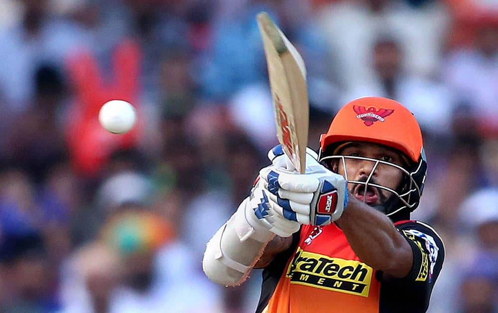 Shikhar Dhawan of Sunrisers Hyderabad plays a shot during IPL match against Mumbai Indians in Visakhapatnam.