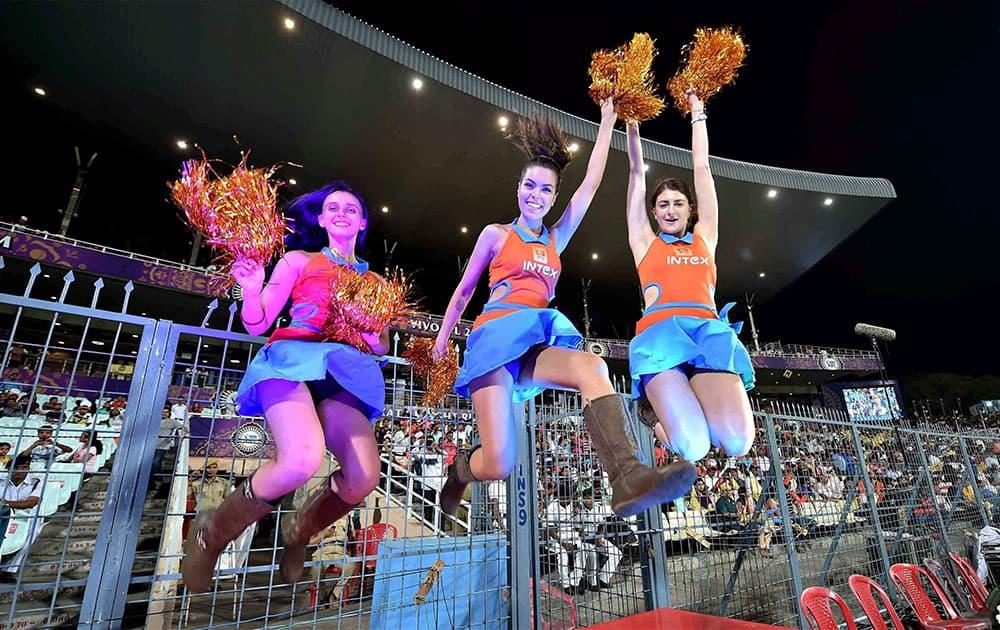 KKR cheerleaders during an IPL T-20 match aganist Gujarat Lions at Eden Garden in Kolkata.