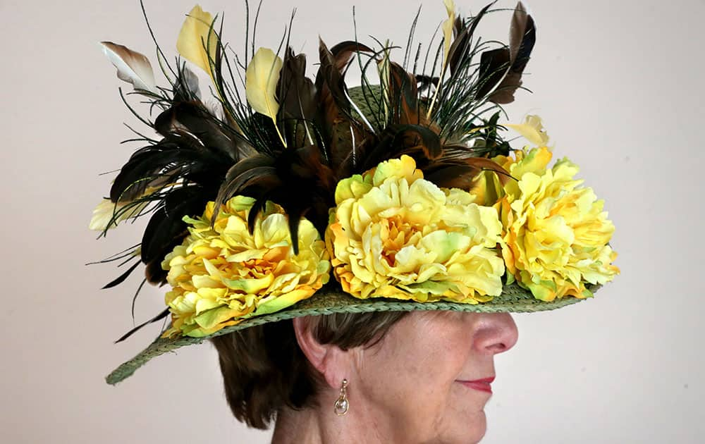 Gail Kercheval of Winchester, Va. attends a Kentucky Derby hat party hosted by the Alpha Omega 2060 Chapter of Epsilon Sigma Alpha International in Winchester, Va.