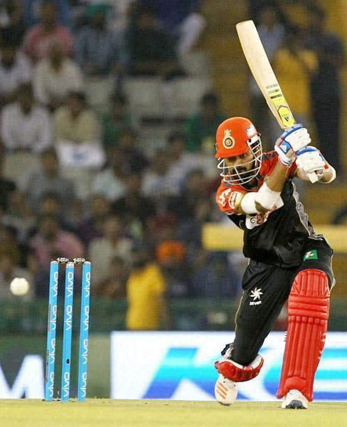 KL Rahul of Royal Challengers Banglore plays a shot during an IPL match against Kings XI Punjab in Mohali.
