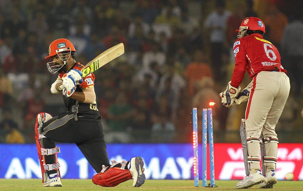 KL Rahul of Royal Challengers Banglore gets clean bowled during an IPL match against Kings XI Punjab in Mohali.