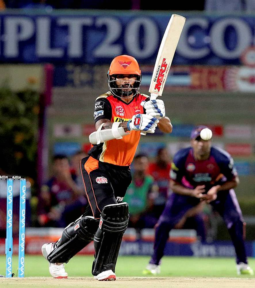 Shikhar Dhawan of Sunrisers Hyderabad plays a shot during an IPL 2016 against Rising Pune Supergiants at ACA-VDCA Stadium in Visakhapatnam.