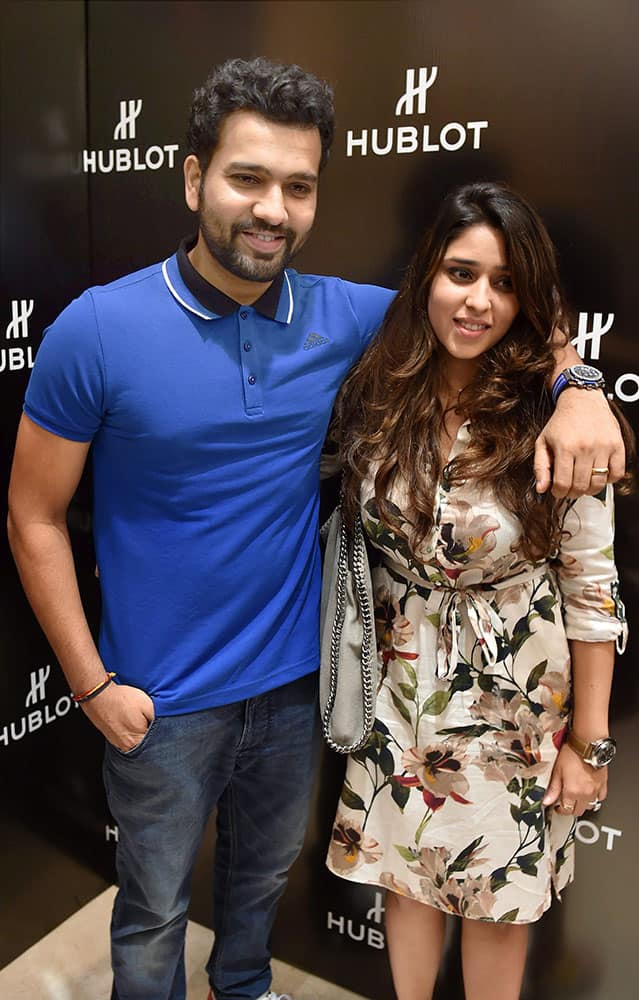 Cricketer Rohit Sharma with his wife Ritika Sharma during a promotional event for Hublot in Bengaluru.