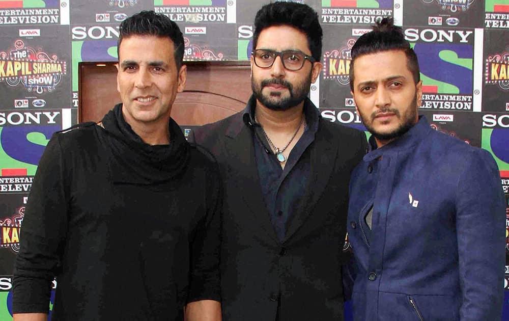Bollywood actors Akshay Kumar, Riteish Deshmukh and Abhishek Bachchan promote their film Housefull 3 on the sets of The Kapil Sharma Show in Mumbai.