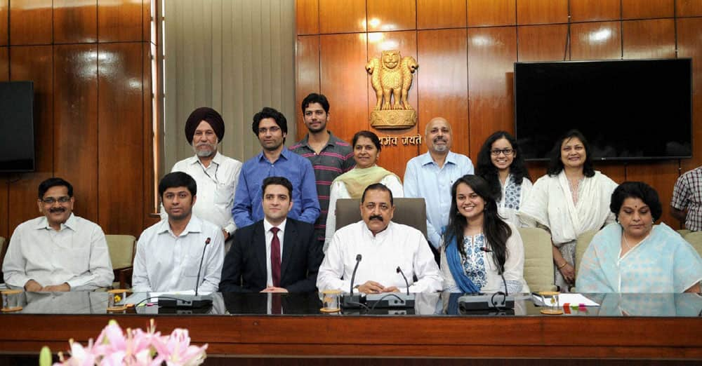 Minister of State for Personnel Jitendra Singh in a meeting with the toppers of Civil Services Examination, 2015, Tina Dabi, Athar Aamir Ul Shafi Khan and Jasmeet Singh Sandhu and their families in New Delhi.