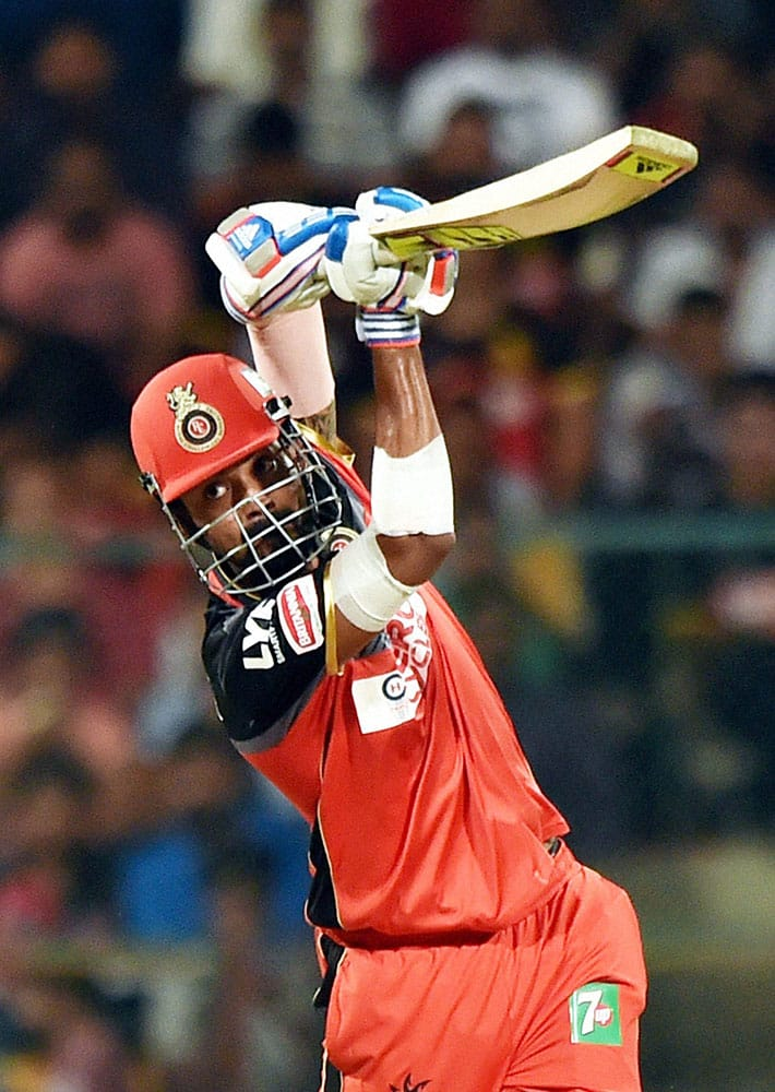 Royal Challengers Bangalore K L Rahul plays a shot during IPL 2016 match against Mumbai Indians at Chinnaswamy stadium in Bengaluru.