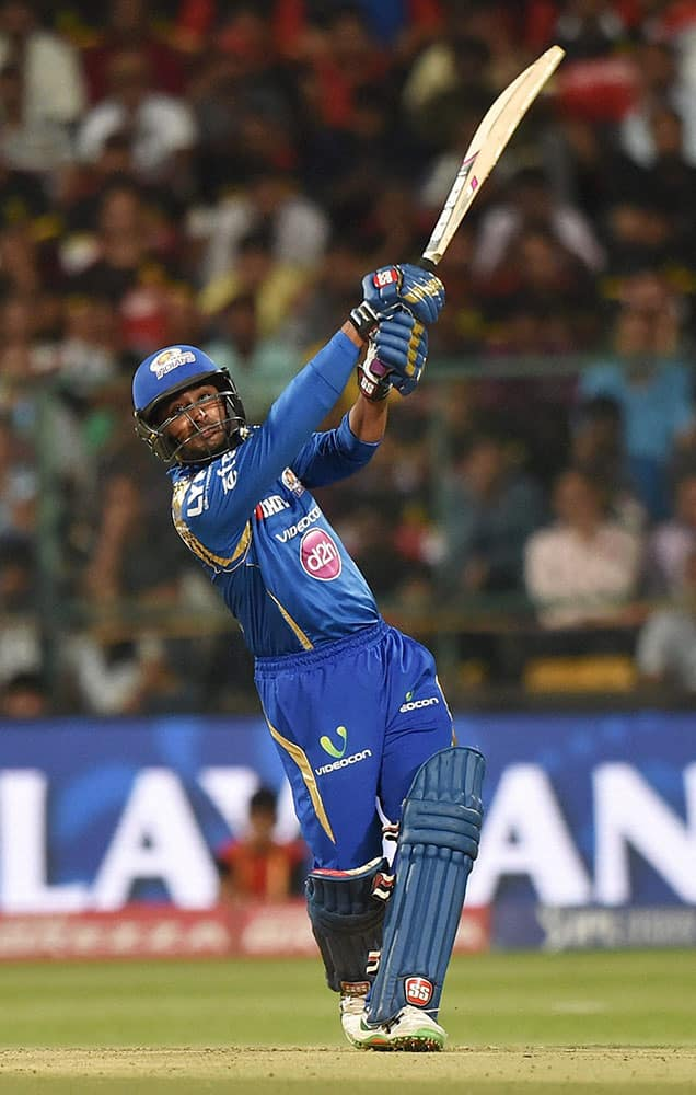 Mumbai Indians Ambati Rayudu plays a shot during IPL 2016 match against Royal Challengers Bangalore at Chinnaswamy stadium in Bengaluru.