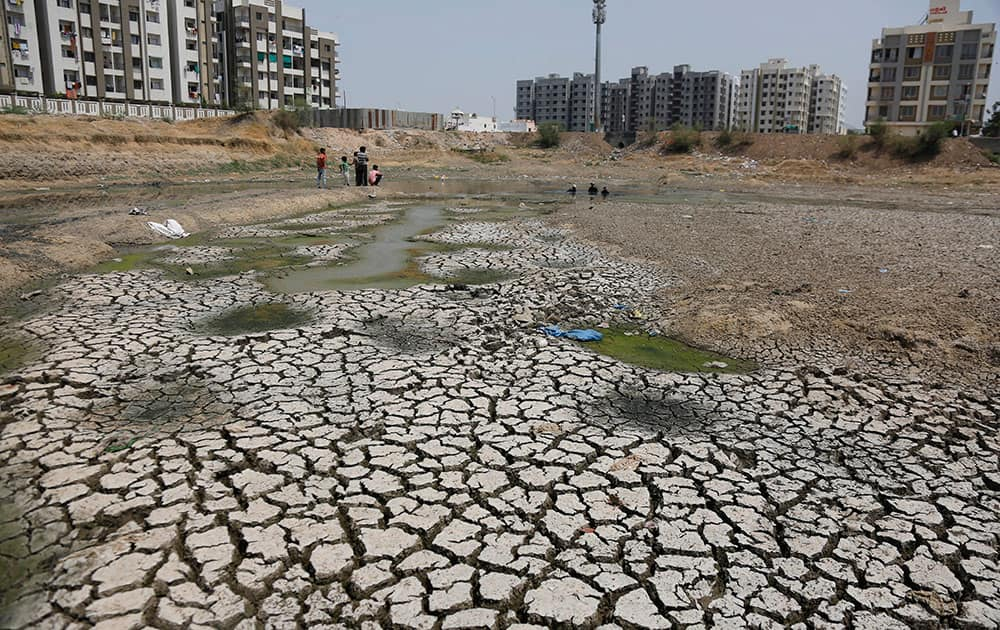 Indians watch as municipal workers, center right, rescue fish from a dried lake at Ratanpura in Ahmadabad, Gujarat, India.
