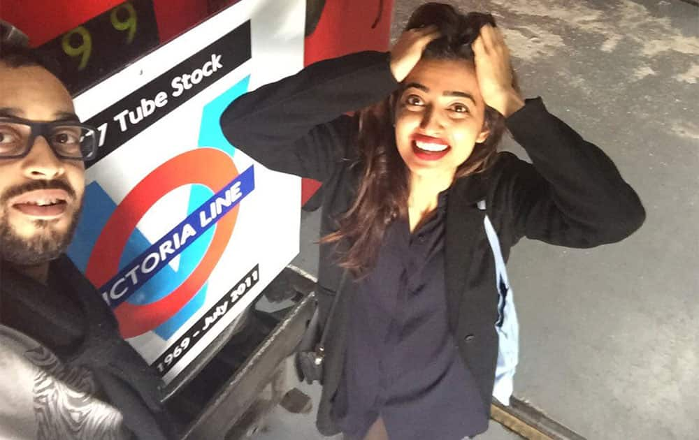 Radhika Apte ‏@radhika_apte  :- After pack up at London Transport Museum @oystersshort with @AhmedKRoy-twitter