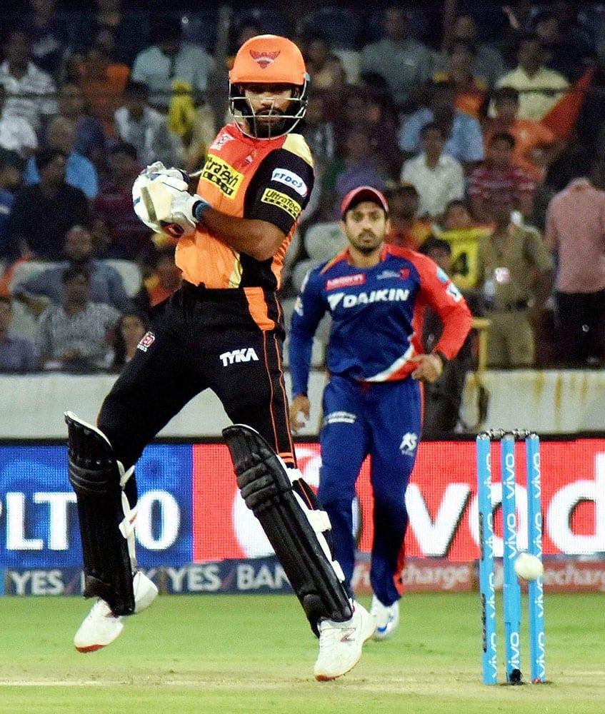 Shikhar Dhawan of SRH plays a shot against Delhi Daredevils during IPL cricket match at Uppal Stadium in Hyderabad.