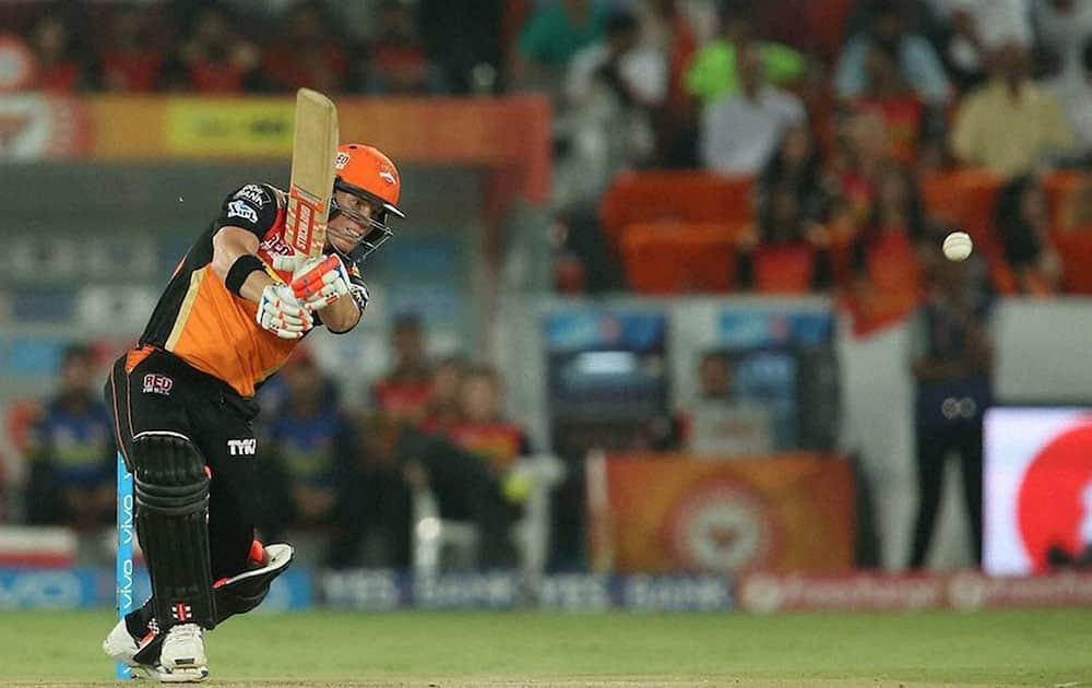 Sunrisers Hyderabad captain David Warner plays a shot against Delhi Daredevils during IPL cricket match at Uppal Stadium in Hyderabad.