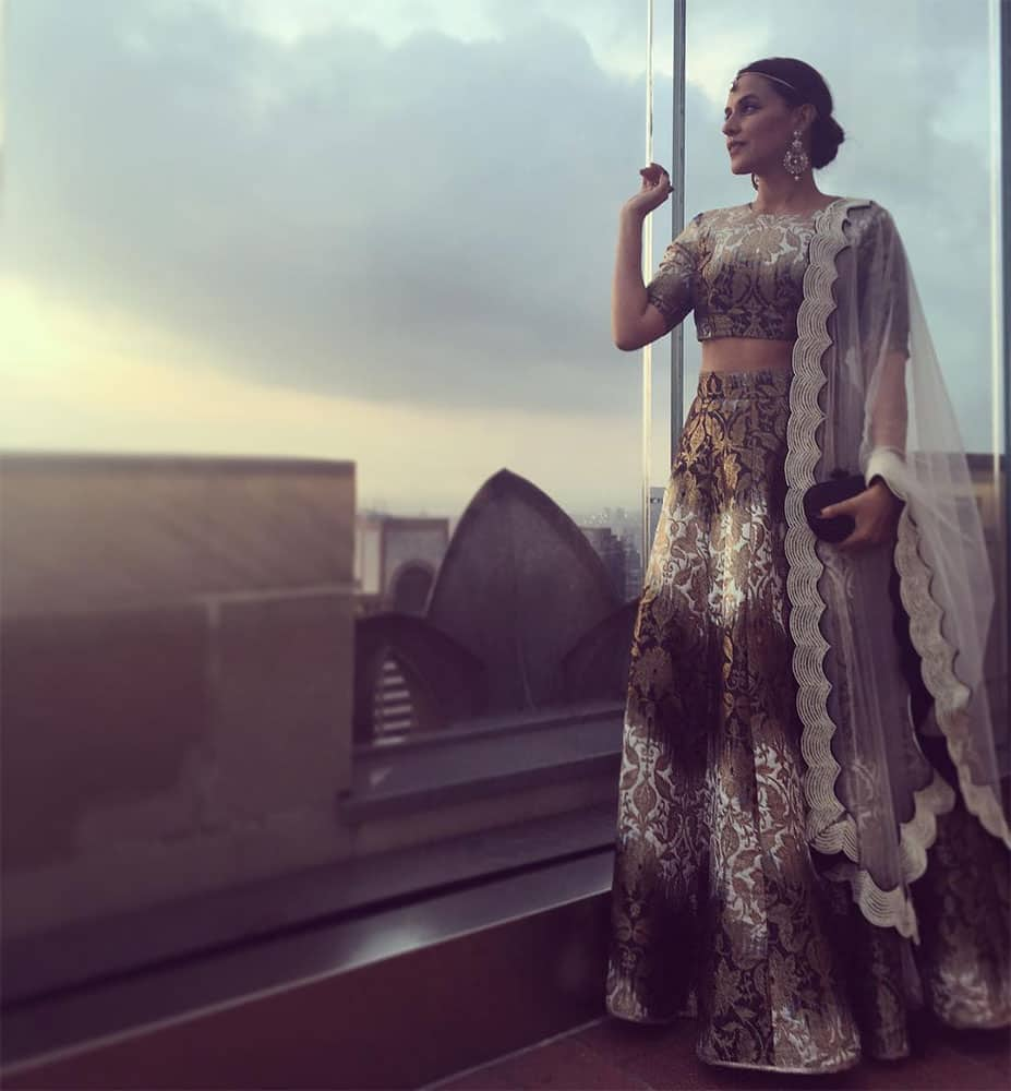 Neha Dhupia ‏@NehaDhupia  :- #throwbackthursday off #weddings ... Wearing @payalsinghal n @Anmol_Jewellers ... For the love… -instagram