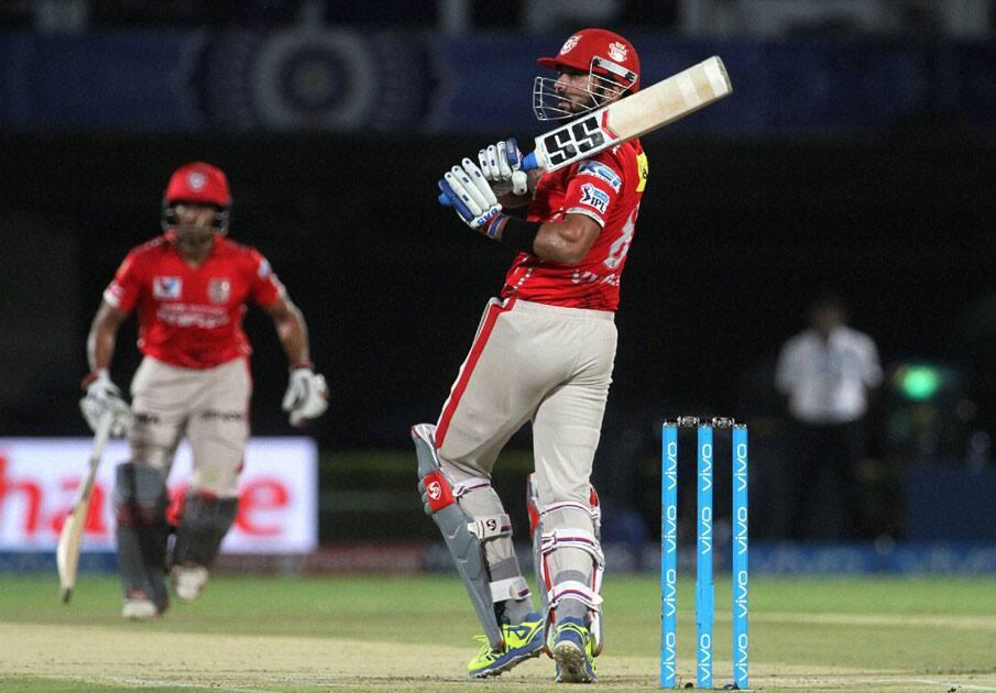 Kings XI Punjab captain Murli Vijay plays a shot during match IPL against Mumbai Indians at the ACA-VDCA Stadium in Visakhapatnam.