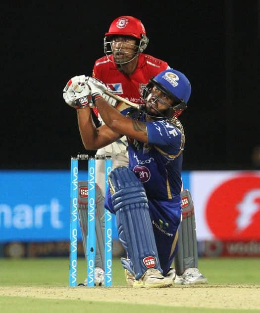 Mumbai Indians Nitish Rana plays a shot during an IPL match against Kings XI Punjab in Visakhapatnam.
