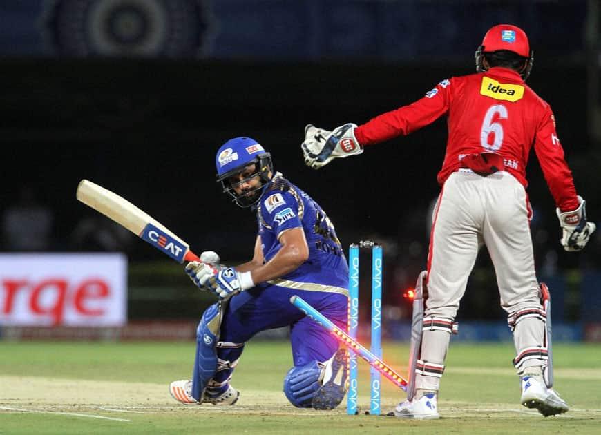 Mumbai Indians captain Rohit Sharma gets clean bowled during an IPL match against Kings XI Punjab in Visakhapatnam.