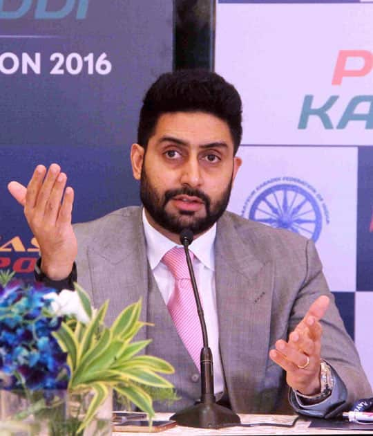 Jaipur Pink Panther owner Abhishek Bachchan interacts with media during the Pro Kabaddi Players Auction 2016, in Mumbai.