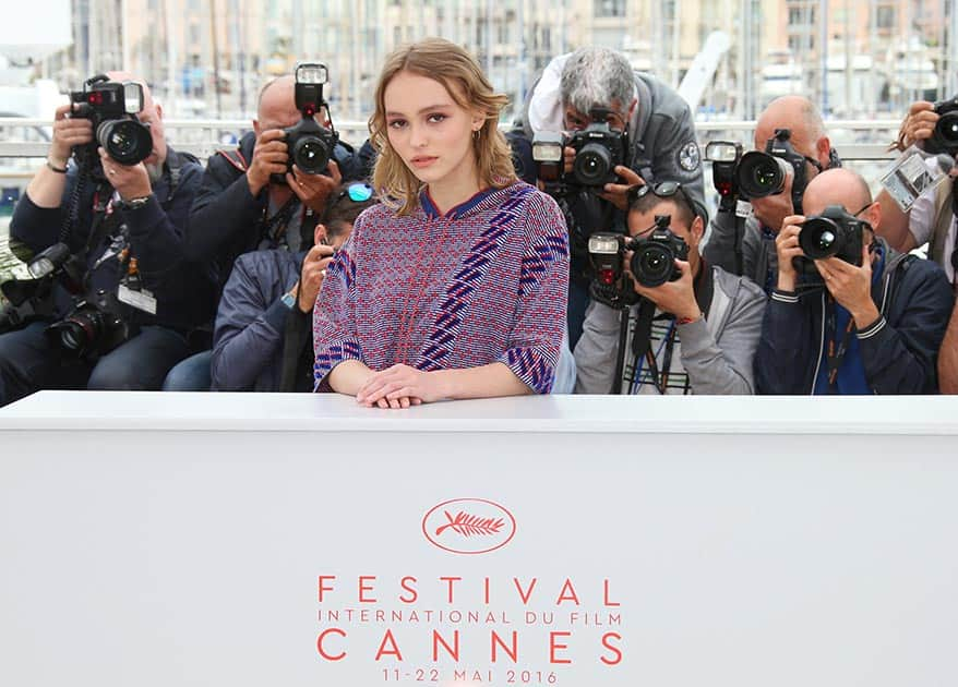 Actress Lily-Rose Depp poses for photographers during a photo call for the film La Dansuese (The Dancer) at the 69th international film festival, Cannes, southern France.