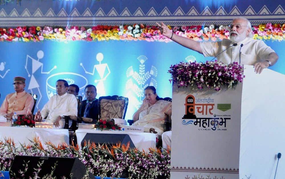Prime Minister Narendra Modi speaking at International Vichar Maha Kumbh during Simhastha Maha Kumbh Mela, in Ujjain on Saturday. Also seen is President of Sri Lanka Maithripala Sirisena.