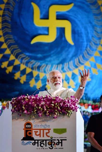 Prime Minister Narendra Modi addressing the valedictory function of International Vichar Maha Kumbh during Simhastha Maha Kumbh Mela at Ninora village in Ujjain.