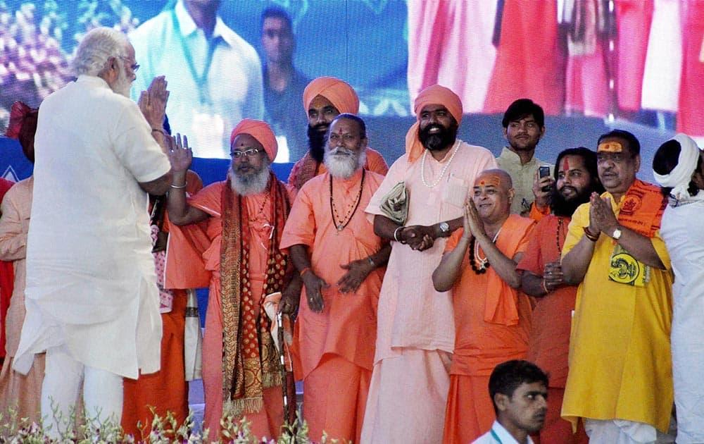Prime Minister Narendra Modi at International Vichar Maha Kumbh during Simhastha Maha Kumbh Mela in Ujjain.