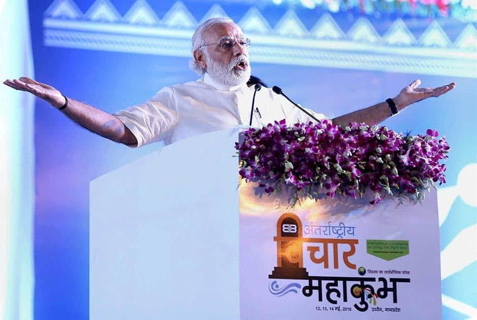 Prime Minister Narendra Modi addressing the valedictory funtion of the three-day International Vichar Maha Kumbh during the Simhastha Maha Kumbh Mela, in Ujjain.