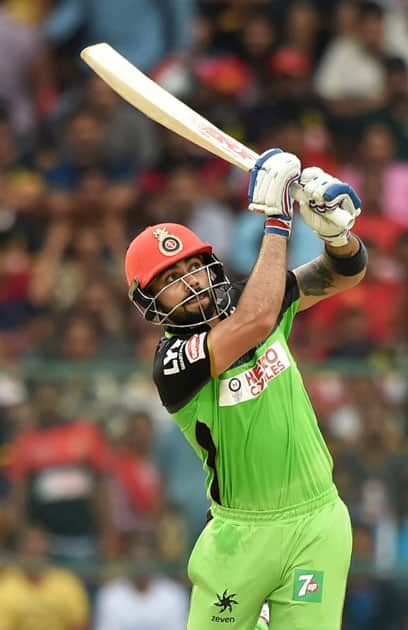 Bengaluru : Royal Challengers Bangalore Virat Kohli plays a shot during the IPL T20 match against Gujarat Lions in Bengaluru.
