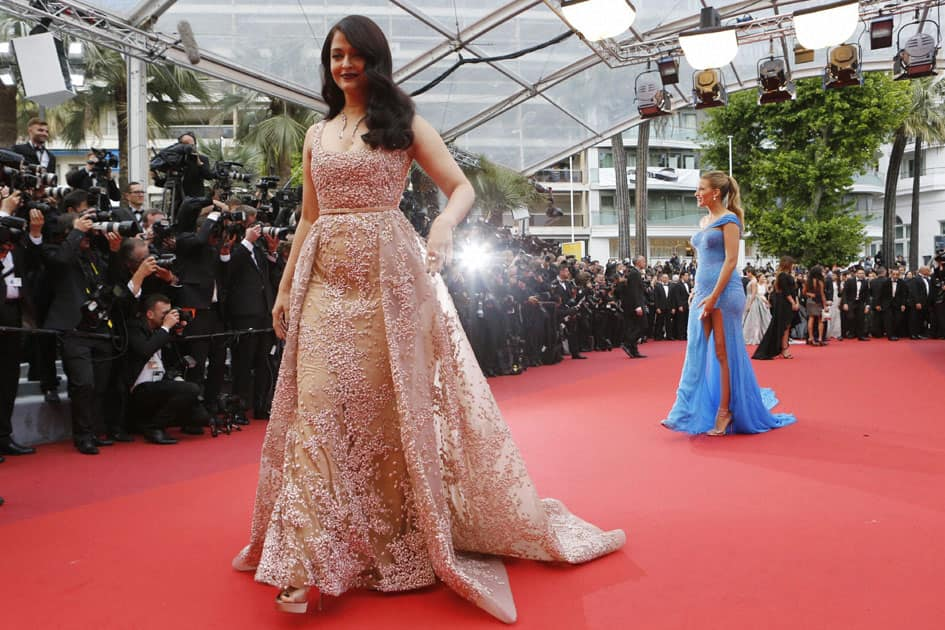 Actresses Aishwarya Rai Bachchan, left, and Blake Lively pose for photographers upon arrival at the screening of the film The BFG at the 69th international film festival, Cannes, southern France.