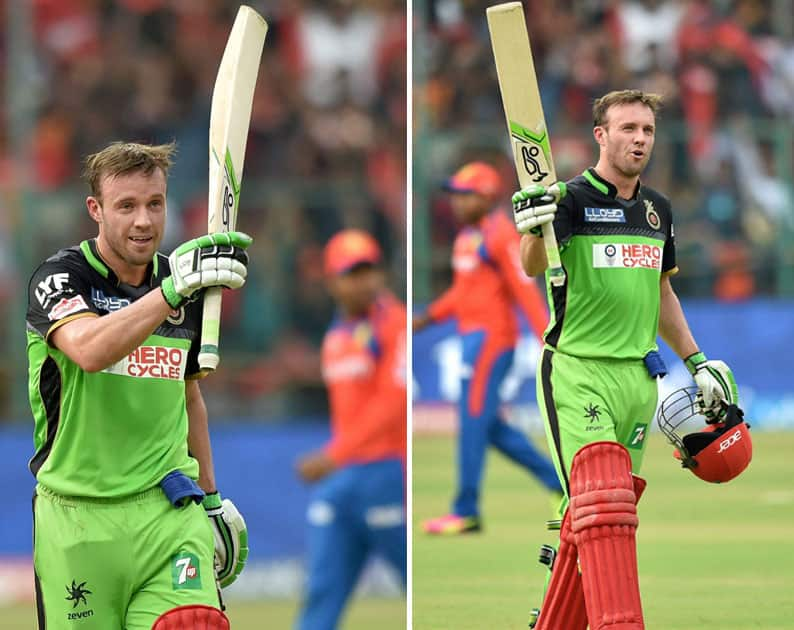 Royal Challengers Bangalore AB De Villiers celebrates his century during the IPL T20 match against Gujarat Lions at Chinnaswamy Stadium in Bengaluru.