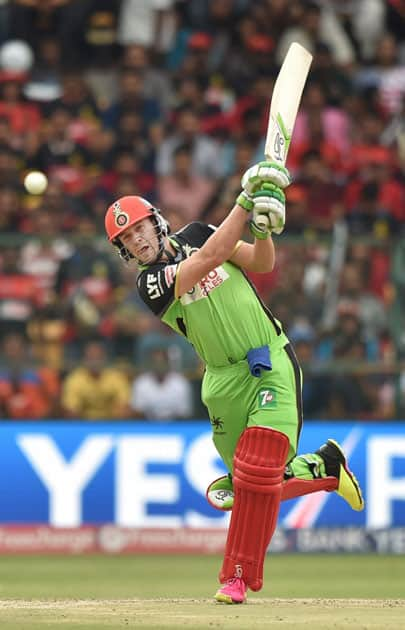 Royal Challengers Bangalore AB De Villiers plays a shot during the IPL T20 match against Gujarat Lions at Chinnaswamy Stadium in Bengaluru.