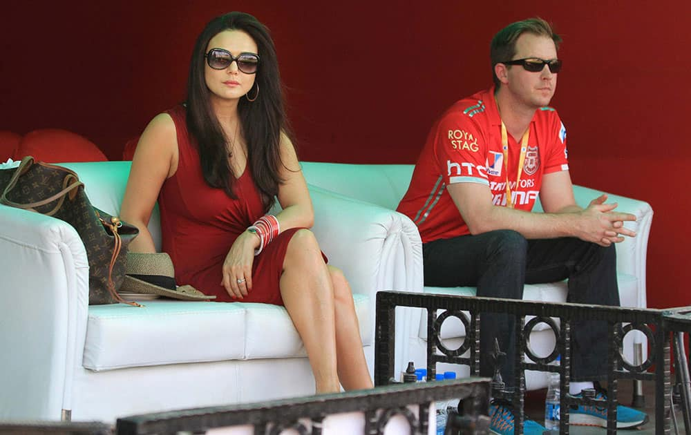Kings XI Punjab owner Preity Zinta with husband Gene Goodenough during the IPL match against Sunrisers Hyderabad.