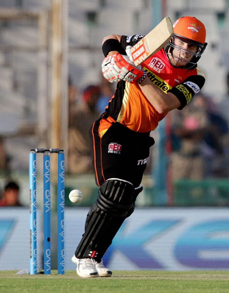 Sunrisers Hyderabad captain David Warner plays a shot during the IPL match against Kings XI Punjab in Mohali.