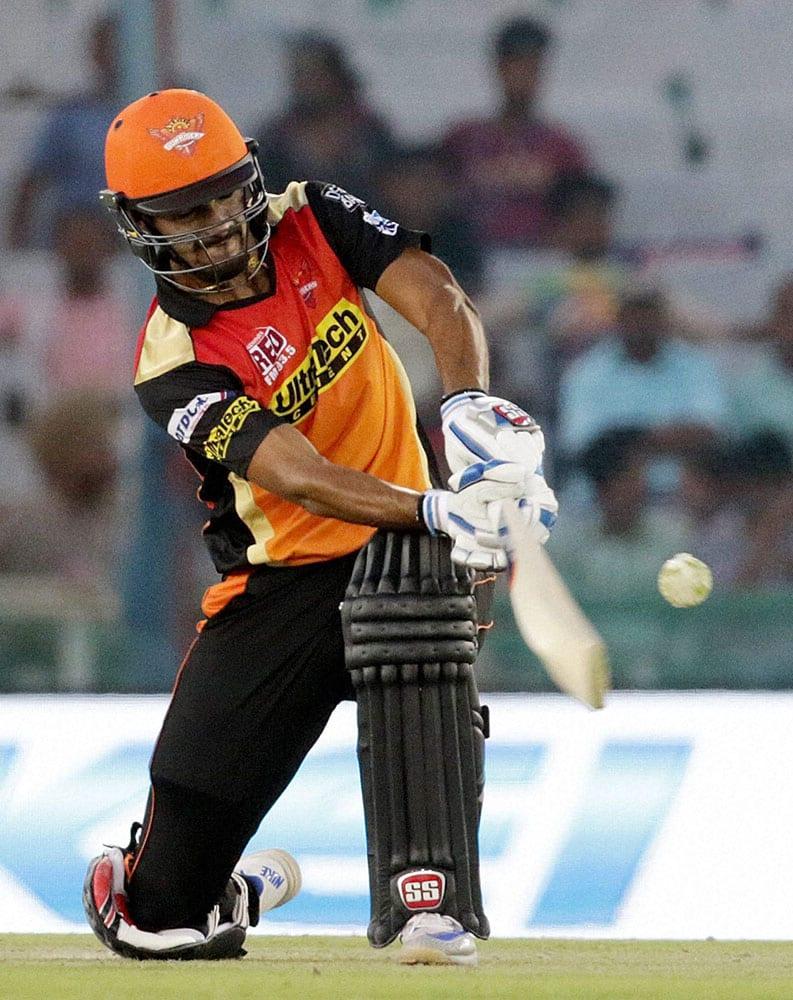 Deepak Hooda of Sunrisers Hyderabad plays a shot during an IPL 2016 matcha against Kings XI Punjab in Mohali.