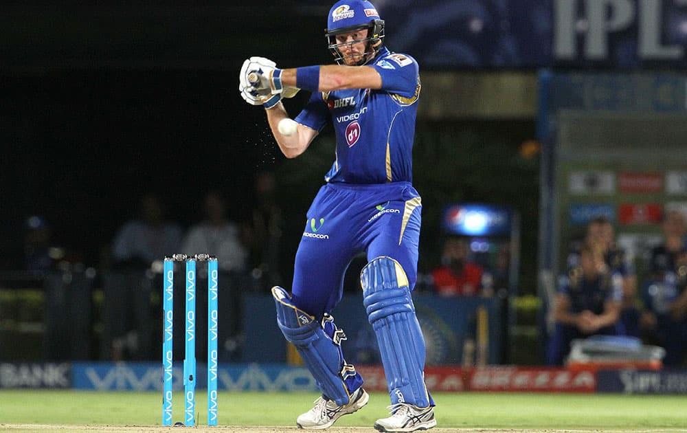 Mumbai Indians Martin Guptill plays a shot during IPL 2016 match against Delhi Daredevils in Visakhapatnam.