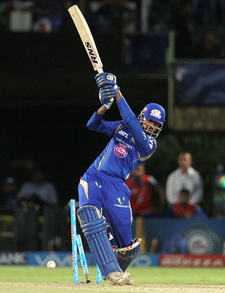 Mumbai Indians batsman Krunal Pandya gets clean bowled during IPL 2016 match against Delhi Daredevils in Visakhapatnam.