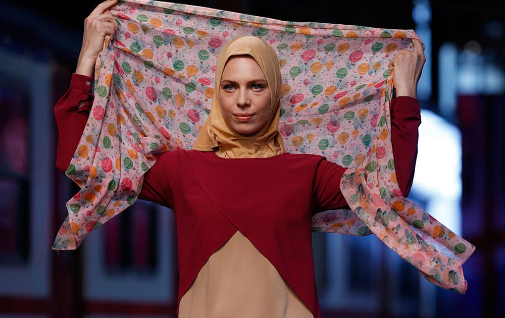 A model during the International Modest Fashion Week, in Istanbul.