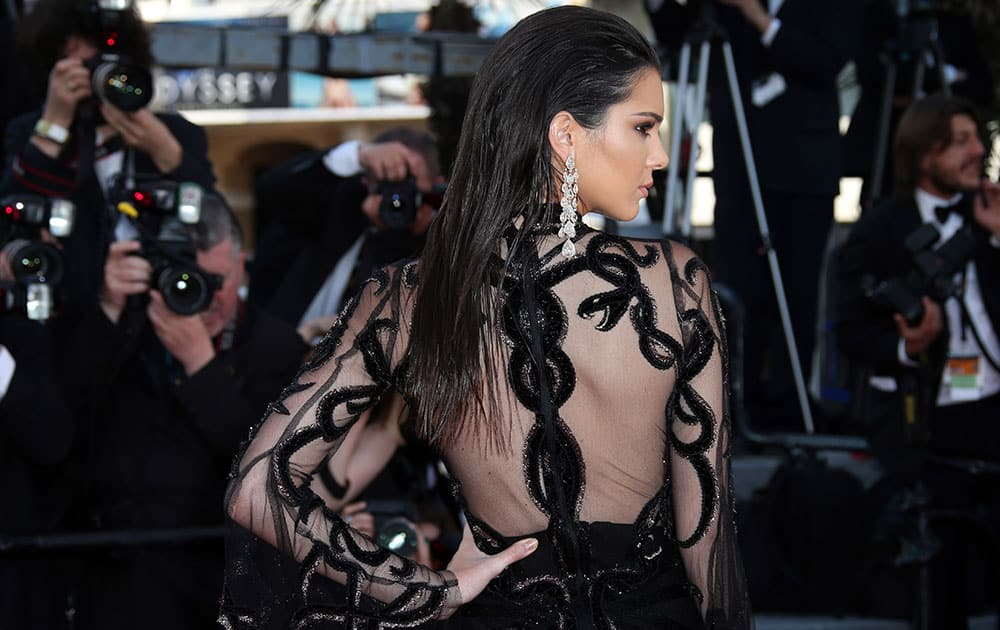 Model Kendall Jenner poses for photographers upon arrival at the screening of the film Mal De Pierres at the 69th international film festival, Cannes.