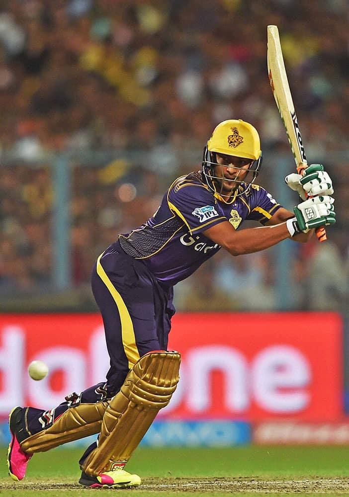 KKR batsman Shakib Al Hasan plays a shot during an IPL match against RCB at Eden Garden in Kolkata.