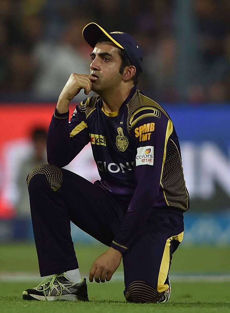 KKR captain Gautam Gambhir reacts during an IPL match against RCB at Eden Garden in Kolkata.