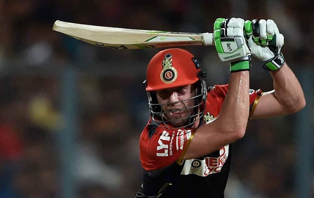 RCB batsman batsman AB de Velliers plays a shot during an IPL match against KKR at Eden Garden in Kolkata.