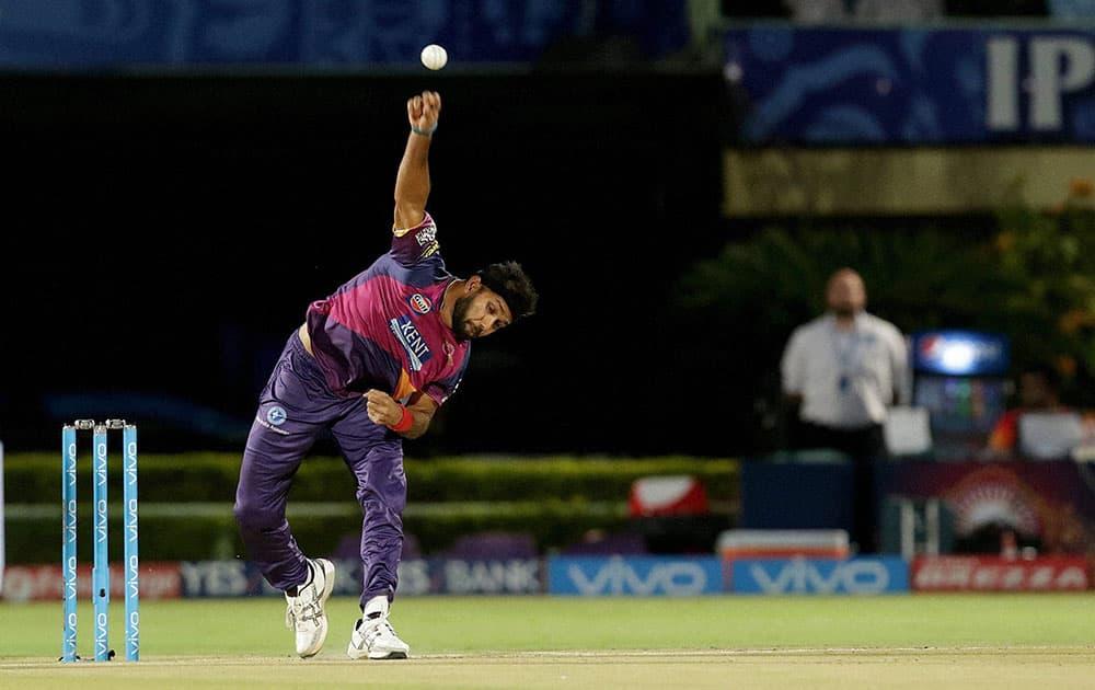 Ashok Dinda of Rising Pune Supergiants in action during a IPL 2016 match against Delhi Daredevils at the ACA-VDCA Stadium Visakhapatnam.