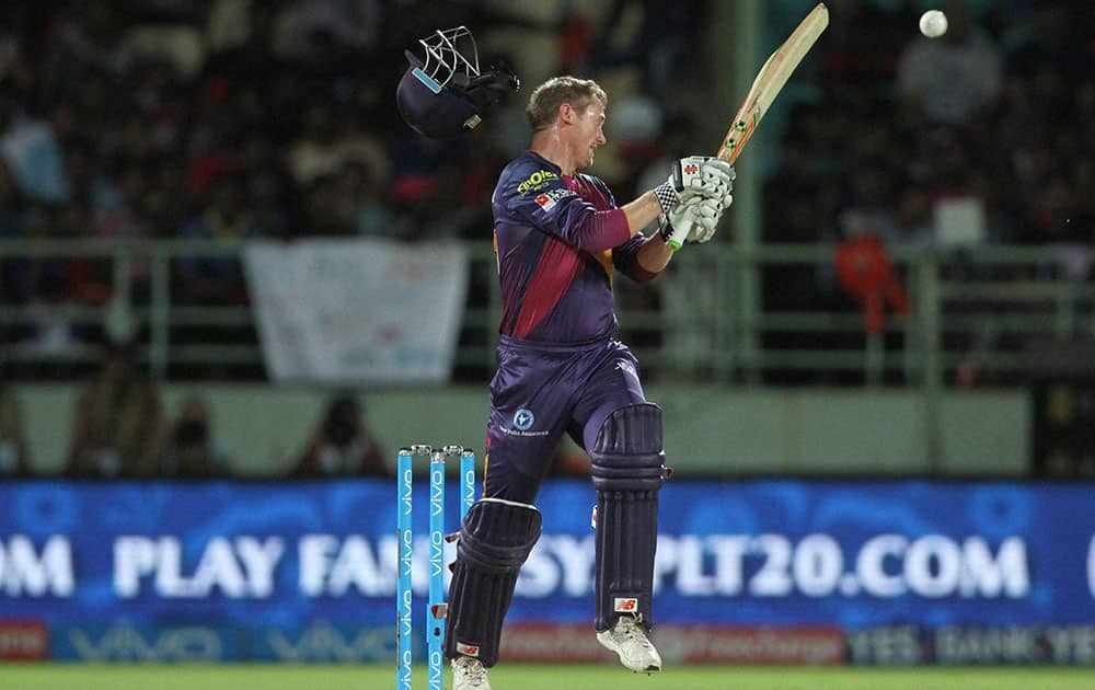 George Bailey of Rising Pune Supergiants plays a shot during a IPL 2016 match against Delhi Daredevils at the ACA-VDCA Stadium, Visakhapatnam.