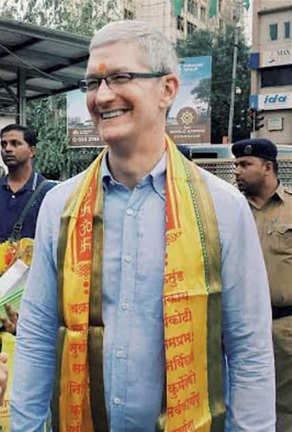 Apple's CEO Tim Cook outside Siddhivinayak Temple in Mumbai.