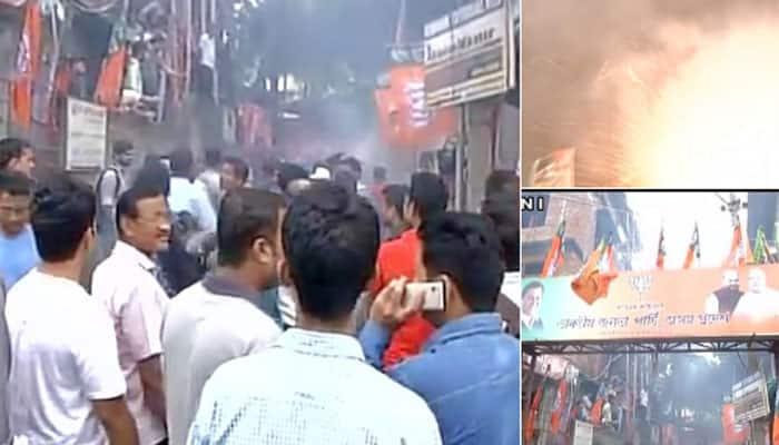 Guwahati (Assam): Celebrations outside BJP office after trends shows BJP leading in the state #Election2016- twitter@ANI_news