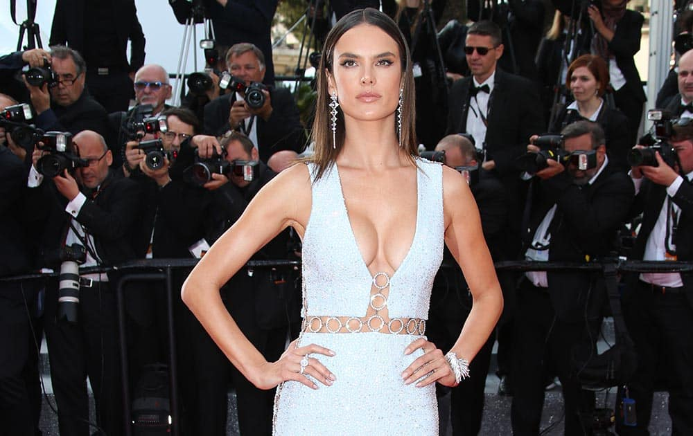 Model Alessandra Ambrosio poses for photographers upon arrival at the screening of the film La Fille Inconnue (The Unkown Girl) at the 69th international film festival, Cannes, southern France.
