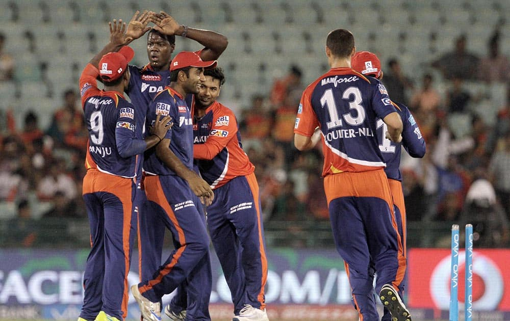 Delhi Daredevils players celebrates the wicket of Sunrisers Hyderabad player Shikhar Dhawan during an IPL 2016 match in Raipur.