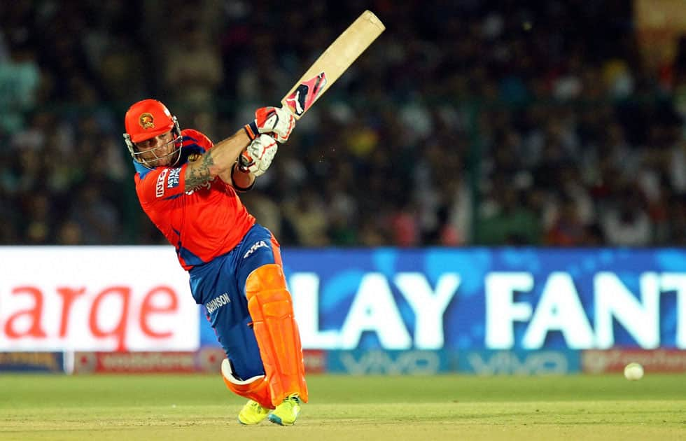 Gujarat Lions player Brendon McCullum plays a shot during an IPL match against Mumbai Indians at Green Park in Kanpur.