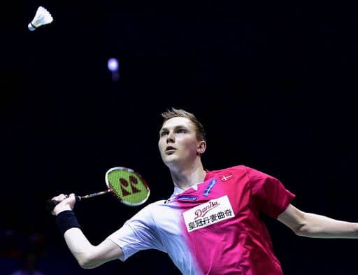 Viktor Axelsen of Denmark prepares to return a shot against Tommy Sugiarto of Indonesia in their men's singles final group match in the Thomas Cup in Kunshan in east China's Jiangsu province.